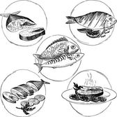 Set of hand drawn fish dishes — Stock Vector
