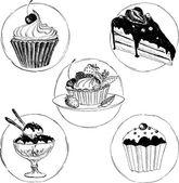Set of hand drawn desserts — Stock Vector