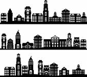 Set of city landscapes — Stock Vector