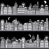 Set of night city landscapes — Stock Vector