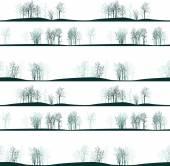 Vector seamless pattern with winter trees — Stok Vektör