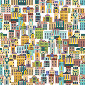 Seamless pattern with cartoon buildings — Stock Vector