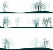 Set of different landscapes with winter trees — Stock Vector