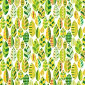 Vector seamless pattern with doodle leaves — Stock Vector
