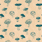 Vector seamless pattern with drawing mushrooms — Stock Vector