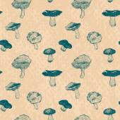 Vector seamless pattern with drawing mushrooms — ストックベクタ