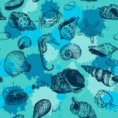 Vector seamless pattern with line drawing shells — Stockvektor