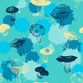 Vector seamless pattern with drawing mushrooms — Stockvektor