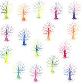 Set di sagome colorate alberi — Vettoriale Stock