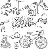 Doodle set of teenagers accessories — Stock Vector