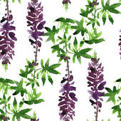 Seamless pattern with lupine drawing by watercolor — 图库矢量图片