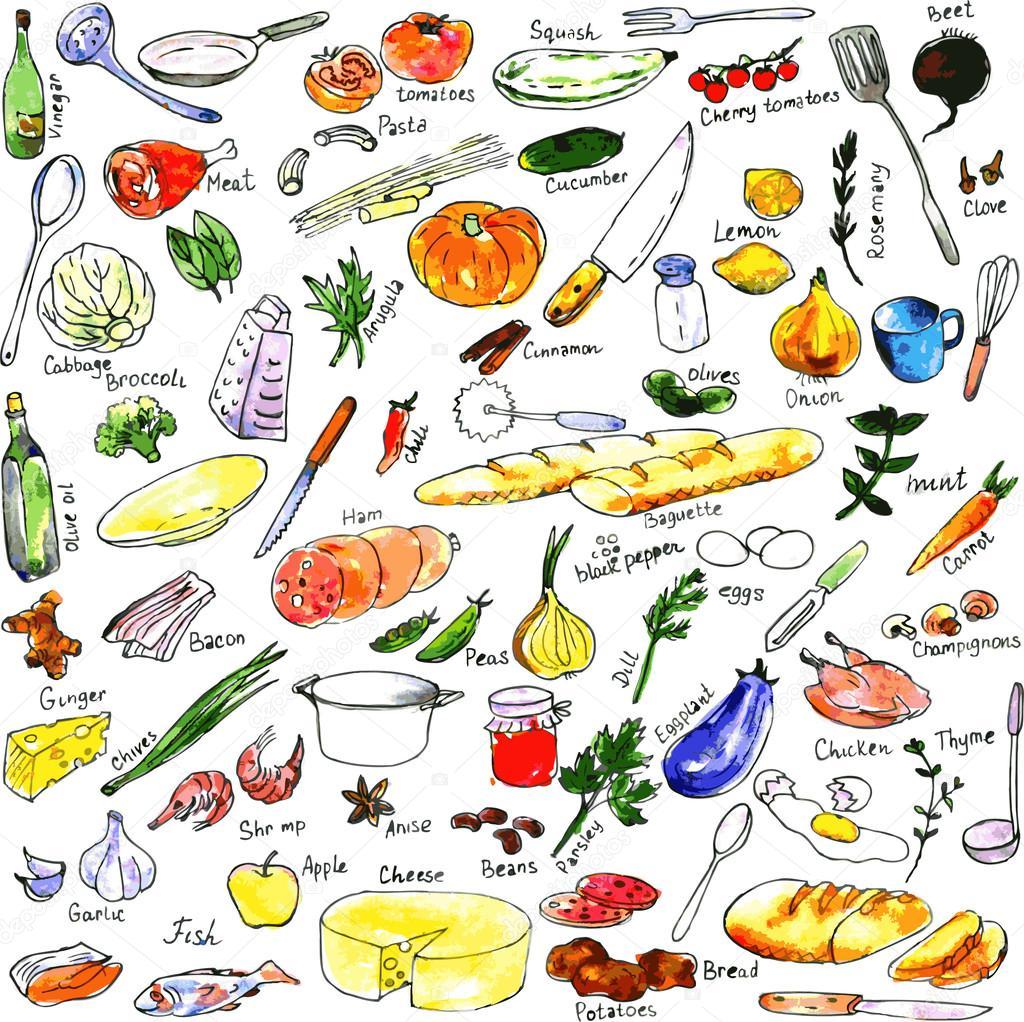 Croquis daliments ustensiles et mat riel de cuisine for Materiel culinaire et ustensiles de cuisine