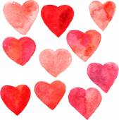 Set of hearts painted by watercolor — Stock vektor