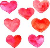 Set of hearts painted by watercolor — Stock Vector