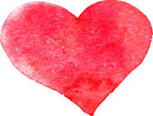 Red heart painted by watercolor — Stock Vector