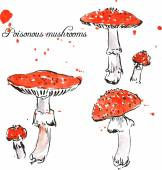 Set of watercolor drawing poisonous mushrooms — Vector de stock