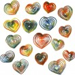 Set of hearts drawing by colored pencils — Stock Vector #62935845