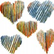 Set of hearts drawing by colored pencils — Stock Vector #62935869