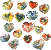 Set of hearts drawing by colored pencils — Vector de stock