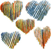 Set of hearts drawing by colored pencils — Vetor de Stock