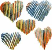 Set of hearts drawing by colored pencils — 图库矢量图片