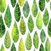 Seamless pattern with abstract green leaves — Stock Vector