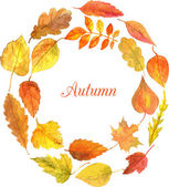 Round template with autumn leaves in watercolor — Vector de stock