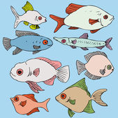 Ink drawing fishes — Stock Vector