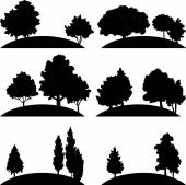 Set of different landscapes with trees — Vetor de Stock