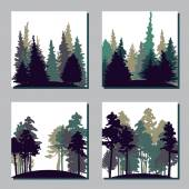 Set of different landscapes with trees — Stock Vector