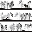 Set of different landscapes with trees and animals — Stock Vector #74192269