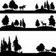 Set of different landscapes with trees and animals — Stock Vector #74192287