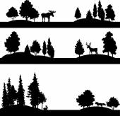 Set of different landscapes with trees and animals — Stock Vector
