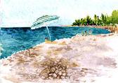 Stranden med människor och parasoll — Stockvektor