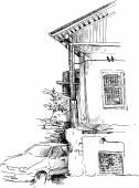 Urban sketch — Stock Vector