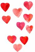 Set of hearts painted by watercolor — Stock Photo