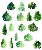 Conjunto de diferentes árvores de folha caduca — Fotografia Stock