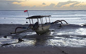 Empty Indonesian fishing boat — Stok fotoğraf