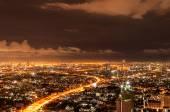 Panorama view of Bangkok city scape at nighttime — Stock Photo