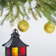 Decorative lantern and fur-tree branch with Christmas balls — Stock Photo #52995203