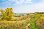 View from the hill on a sunny autumn day — Stockfoto