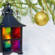 Decorative lantern  and gold Christmas ball — Stock Photo #57851707