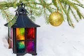Decorative lantern  and gold Christmas ball — Stok fotoğraf