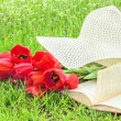 Bouquet of tulips, a book, a hat on the grass — Stock Photo #65403337