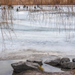Winter landscape with fishermen on the river — Stock Photo #65995445