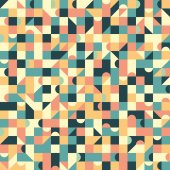 Vintage seamless pattern with squares and semicircle. — Stock Vector