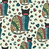 Seamless pattern with cats and colored forms. — Stock Vector