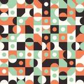 Seamless pattern with circles and semicircles. — Stock Vector
