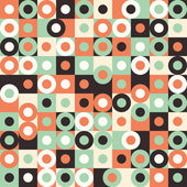 Seamless pattern with multicolored large circles and squares. — Stock Vector