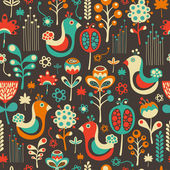 Colorful seamless pattern with funny birds and flowers. — Stock Vector